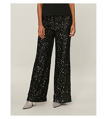 VICTORIA VICTORIA BECKHAM Sequinned flared trousers (Black