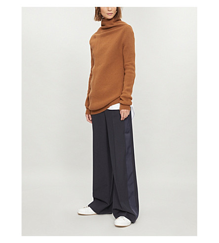 VICTORIA VICTORIA BECKHAM High-rise wide-leg wool-crepe trousers (Navy