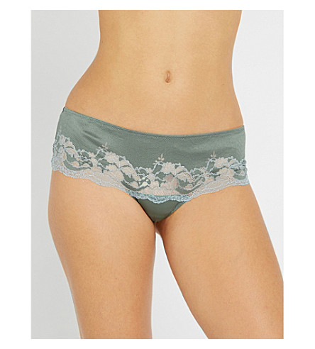 WACOAL Lace Affair mesh tanga briefs (Balsam+green+slate