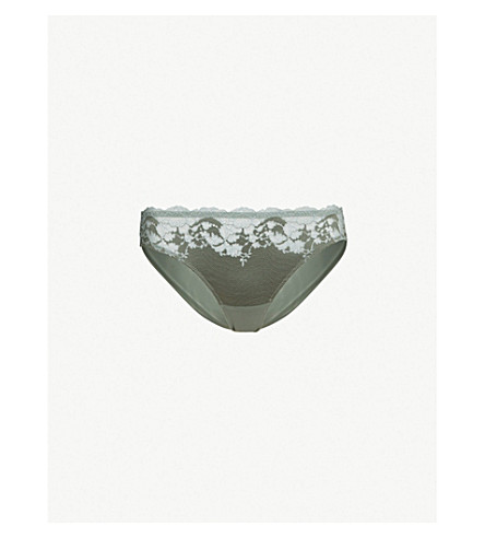 WACOAL Lace affair mesh bikini briefs (Balsam+green+slate