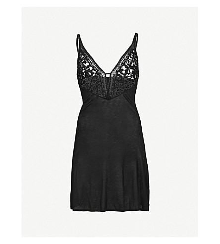 WACOAL Eternal lace and jersey chemise (Black
