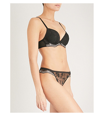 WACOAL Irresistible mesh plunge push-up bra (Black