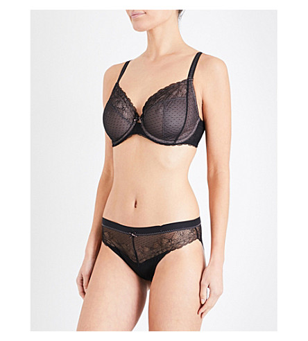CHANTELLE Le Marais stretch-lace and mesh underwired bra (Black