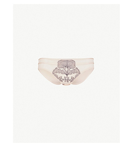 CHANTELLE Garnier mid-rise floral-lace and mesh briefs (Rose+pearl
