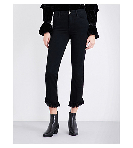 FRAME Le High Straight raw-hem cropped jeans (Noir