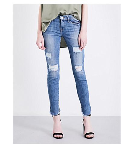 FRAME Le skinny de jeanne skinny distressed mid-rise jeans (Havelock