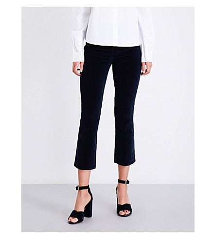 FRAME Le Velveteen Crop Mini Boot bootcut cropped high-rise jeans (Navy