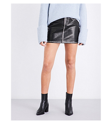 FRAME Studded-detail leather mini skirt (Noir