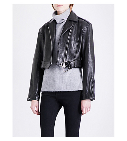 FRAME Moto cropped leather biker jacket (Noir