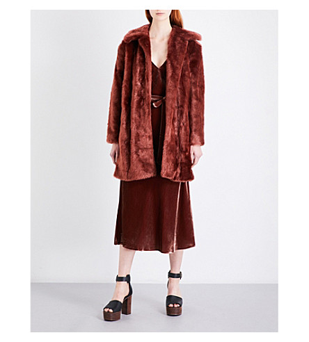 FRAME Single-breasted faux-fur coat (Spice