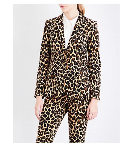 FRAME Cheetah single-breasted velvet blazer (Cheetah