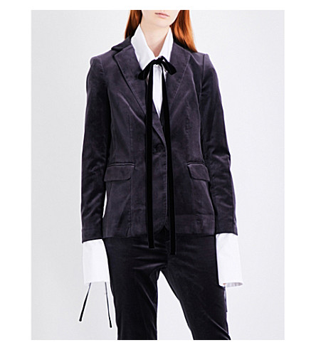 FRAME Tailored-fit velvet blazer (Charcoal