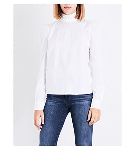 FRAME Ruffled cotton-poplin blouse (Blanc
