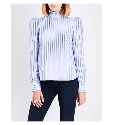 FRAME Ruffled striped cotton-poplin sblouse (Evening+blue+multi