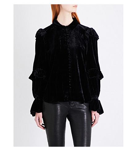 FRAME Ruffle-trimmed velvet blouse (Noir