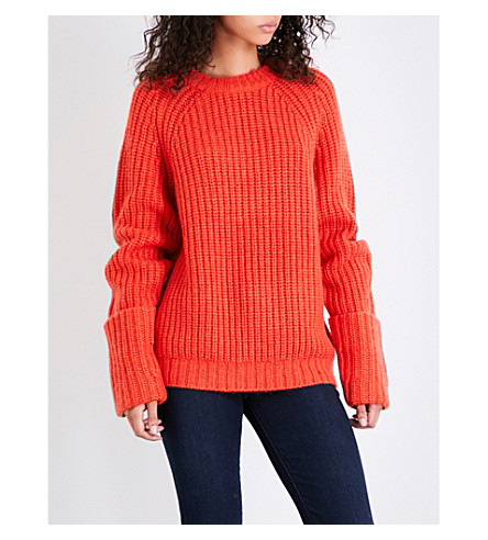 FRAME Large Cuffed Raglan chunky-knit jumper (Flame