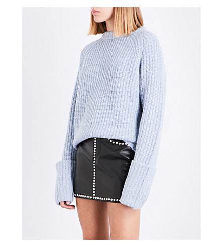 FRAME Turn up-cuffs chunky-knit alpaca-blend jumper (Powder+blue