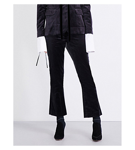 FRAME Le Velvet cropped flared trousers (Charcoal