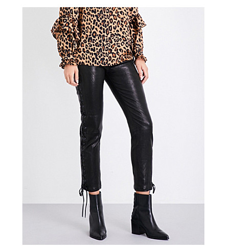 FRAME Lace-up skinny high-rise leather trousers (Noir