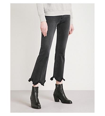 FRAME Le Crop Mini Boot frayed-hem kick-flare high-rise jeans (Westcott