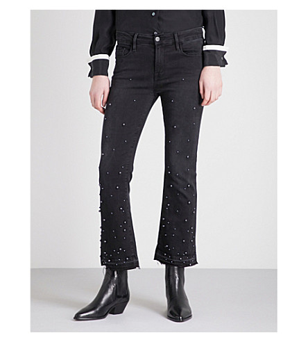 FRAME Le Crop Mini Boot faux-pearl embellished high-rise jeans (Mott+street