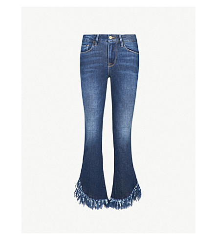 FRAME Le Crop frayed mid-rise bootcut jeans (Bayberry