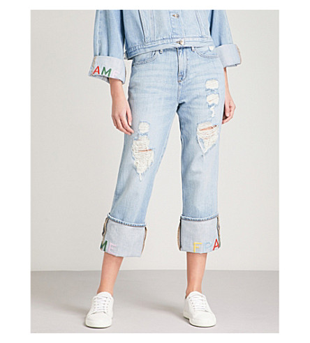 FRAME Logo-embroidered regular-fit high-rise jeans (Rydell