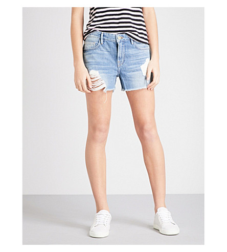 FRAME Le Grande Garcon distressed denim shorts (Albion