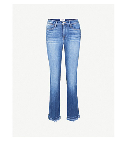 FRAME Le High Straight frayed-hem straight high-rise jeans (Whitway