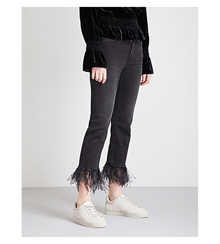 FRAME Le High Straight feather-trim straight high-rise jeans (Ludlow