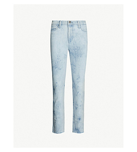 FRAME Le High Straight frayed-hem ripped jeans (Cloud