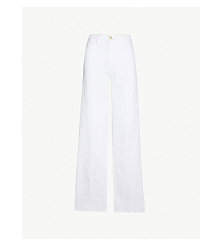 FRAME Le Palazzo high-rise wide-leg jeans (Blanc