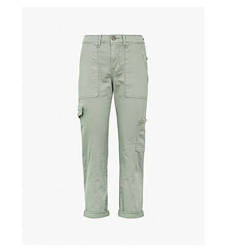 FRAME Service straight high-rise cotton-blend cargo trousers (Platoon