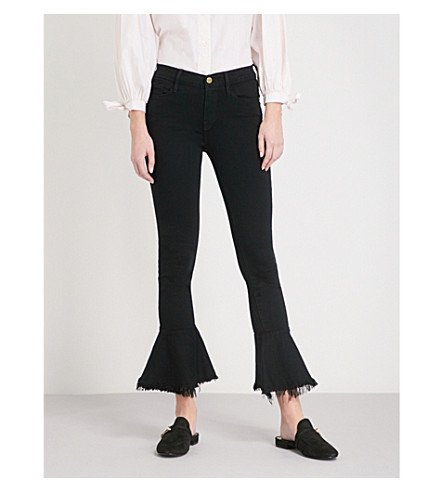 FRAME De Jeanne Flounce skinny mid-rise jeans (Film+noir