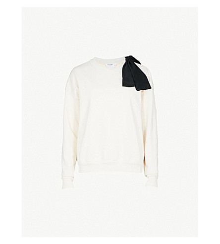 FRAME Bow cotton-jersey sweatshirt (Off+white