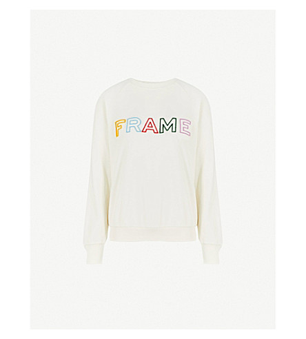 FRAME Logo-embroidered cotton-jersey sweatshirt (Off+white