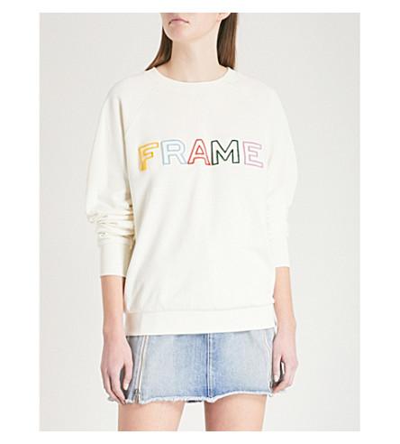 FRAME Logo-embroidered cotton-jersey sweatshirt (Off+white