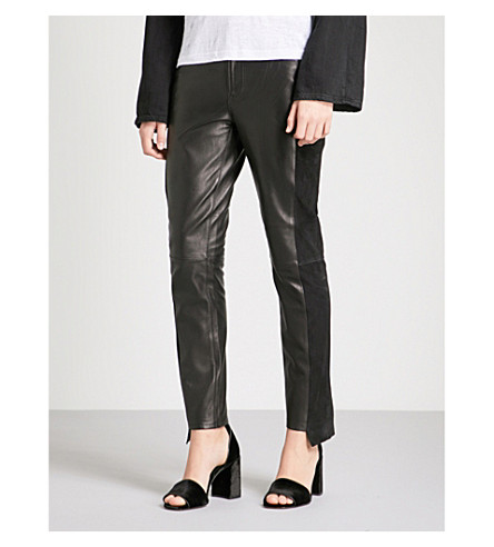 FRAME Mix straight leather and suede trousers (Noir