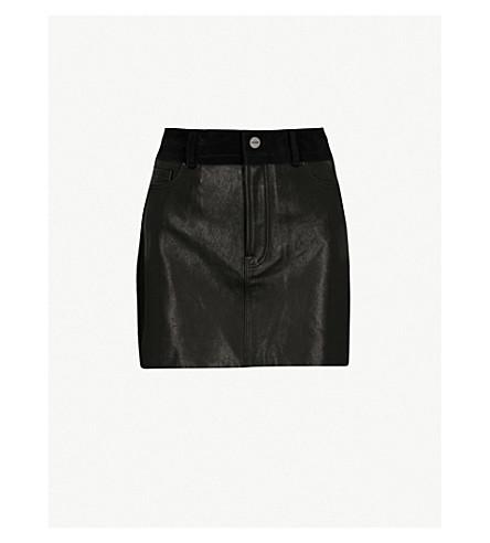 FRAME 混合皮革和绒面革迷你裙 (黑色