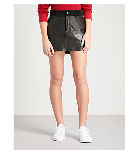 FRAME Mix leather and suede mini skirt (Noir