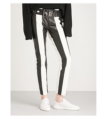 FRAME Paneled leather and suede trousers (Noir