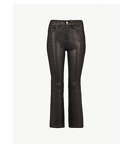 FRAME Le Crop Mini Boot flared high-rise leather jeans (Washed+black