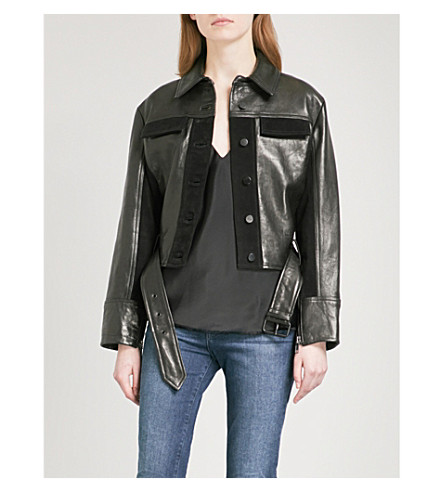 FRAME Panelled leather and suede jacket (Noir