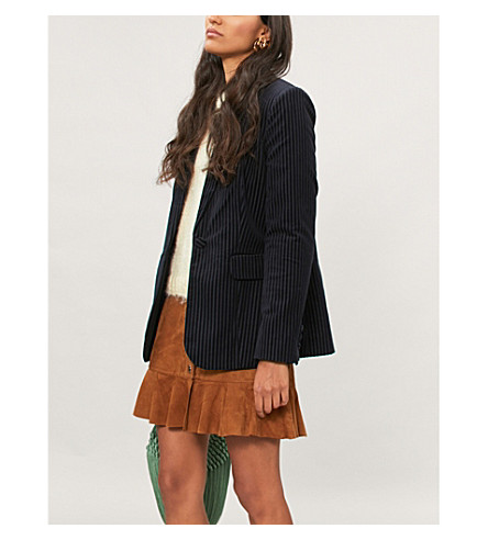 FRAME Striped velvet blazer (Fall+navy