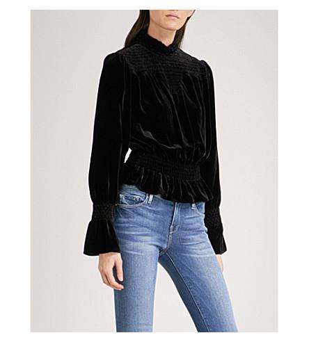 FRAME Smocked velvet blouse (Noir