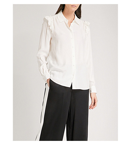FRAME Ruffle silk-crepe de chine shirt (Off+white
