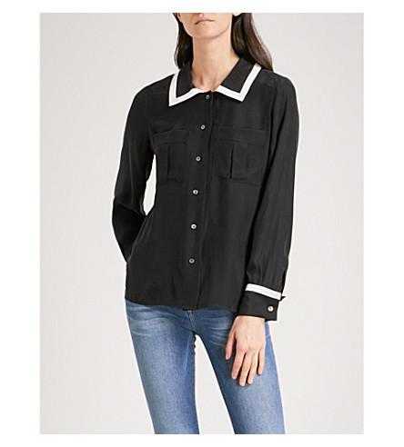 FRAME Double Pocket silk-crepe shirt (Noir+multi