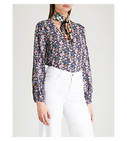 FRAME Open scarf floral-print woven shirt (Noir+multi