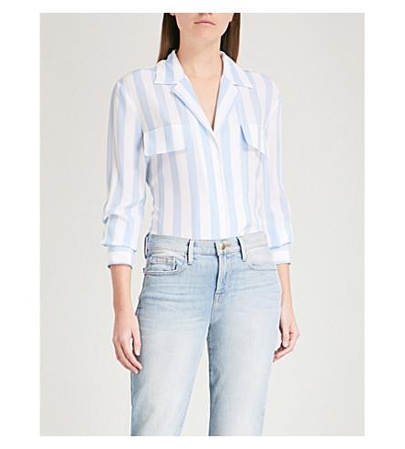FRAME Pocket-detail striped silk shirt (Clear+blue+multi