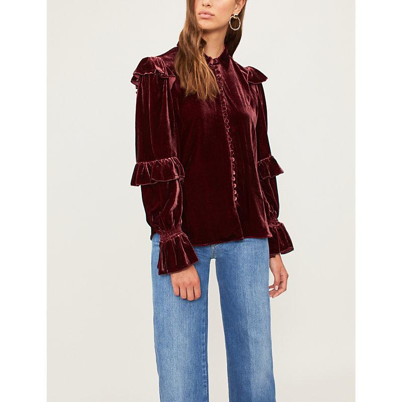 Ruffled velvet blouse